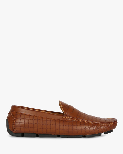 Patterned Loafers With Lugged Sole By Carlton London ( Brown )