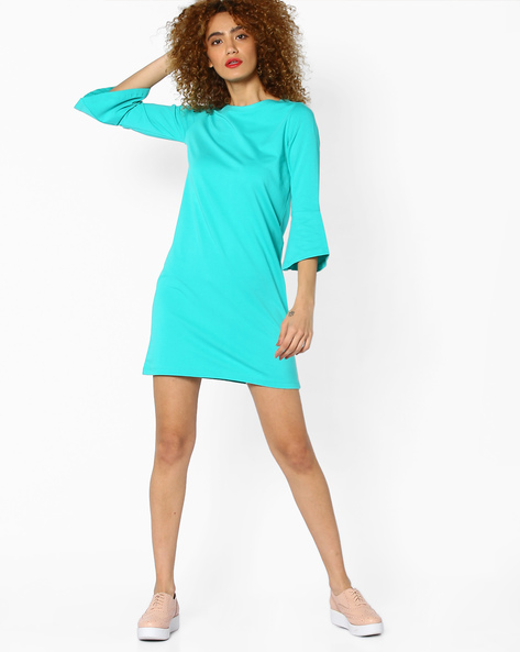 Shift Dress With Bell Sleeves By AJIO ( Teal )