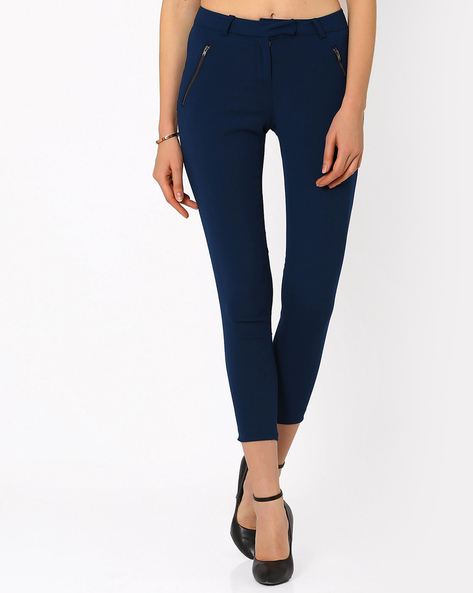 Treggings With Zip Detail By AJIO ( Navyblue )