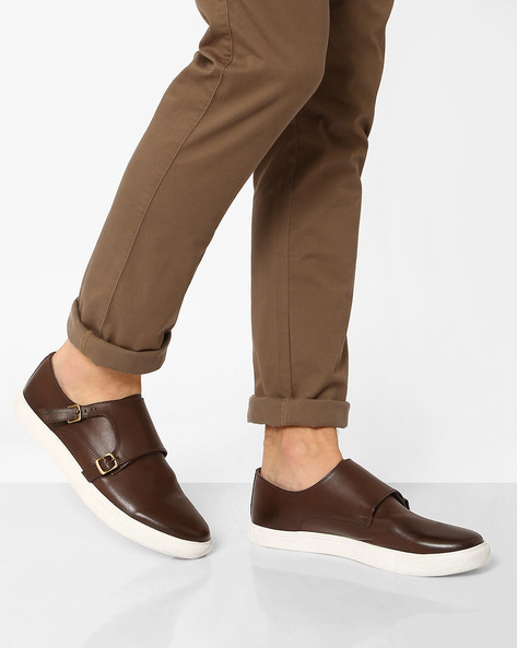 Faux Leather Sneakers With Monk Straps By AJIO ( Brown )