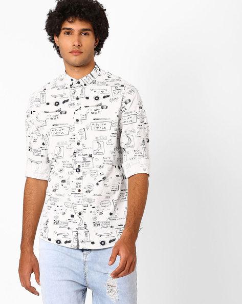 Printed Slim Fit Shirt By AJIO ( White ) - 460052137001