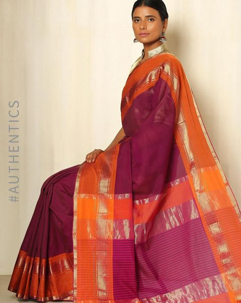 Handwoven Maheshwari Cotton Silk Saree By GoCoop ( Purple )