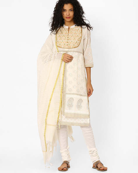 Handloom Kurta Suit Set With Embroidery By AVAASA SET ( Offwhite )