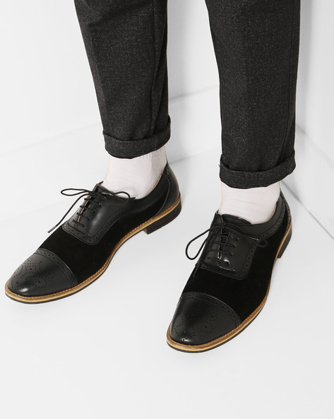 Lace-Up Brogues With Stacked Heels By Modello Domani ( Black )