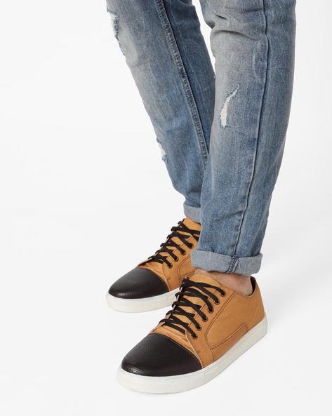 Canvas Lace-Up Sneakers By Knotty Derby ( Tan )