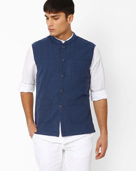 Slim Fit Nehru Jacket By NETPLAY ( Blue )