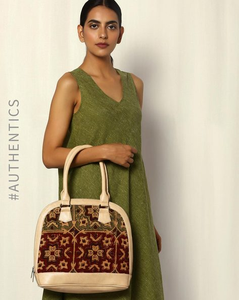 Handblock Print Kalamkari Kilim Vegan Leather Shoulder Bag By A BIG INDIAN STORY ( Beige )