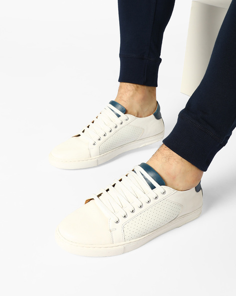 Low-Top Sneakers With Perforations By ESCARO ( White )