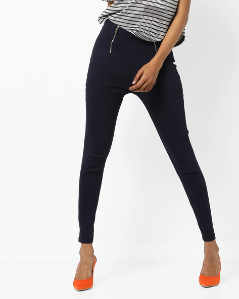 Skinny Fit Jeggings With Front Zipper By AJIO ( Navy )