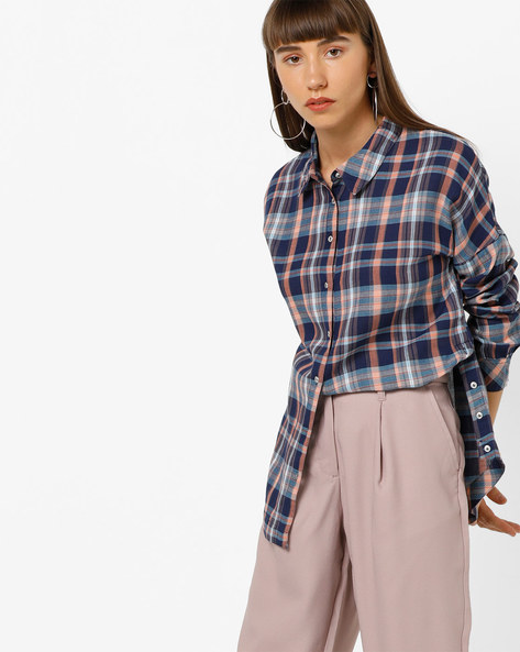 Tartan Checked Shirt With Curved Hem By Only ( Blue )