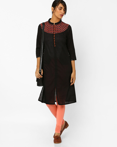 Straight Kurta With Embroidery By AJIO ( Black )