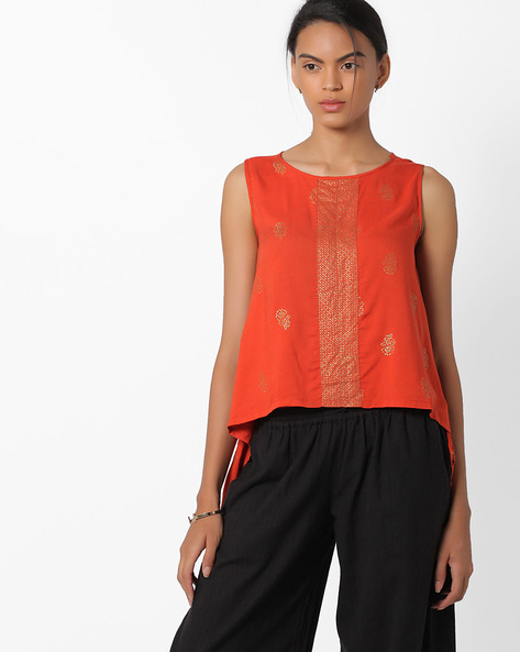 Printed Sleeveless Top With Dipped Hems By Global Desi ( Orange )