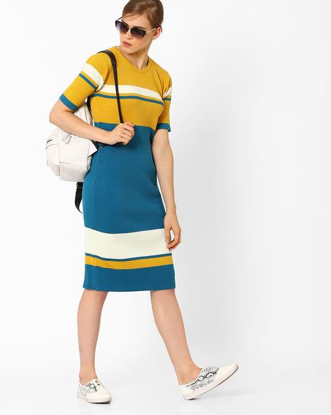 Colourblock Bodycon Dress By AJIO ( Teal )