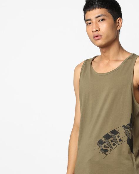 Typographic Print Sleeveless T-shirt By AJIO ( Olive )