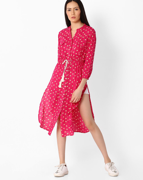 Floral Print Kurta With Tie-Up By Juniper ( Pink )