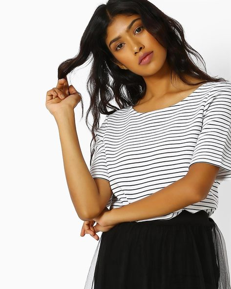 Textured Top With Stripes By Vero Moda ( White )