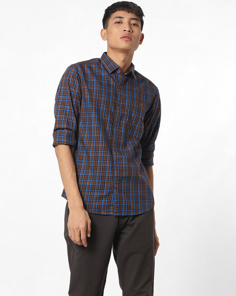 Slim Fit Checked Shirt By The Indian Garage Co ( Brown )