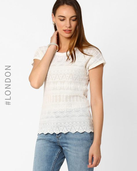 Textured T-shirt By Marks & Spencer ( White )