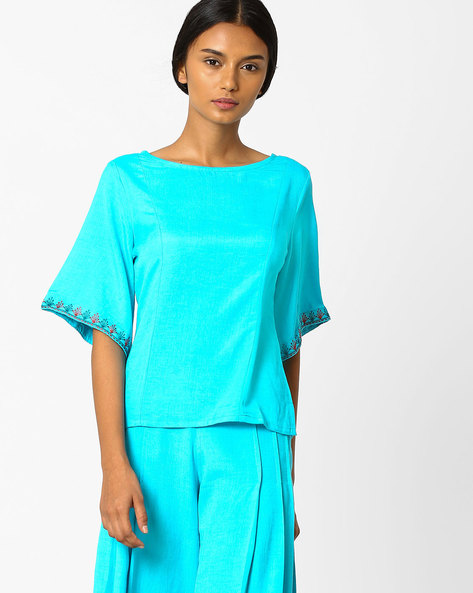 Boxy Top With Kimono Sleeves By AJIO ( Teal )