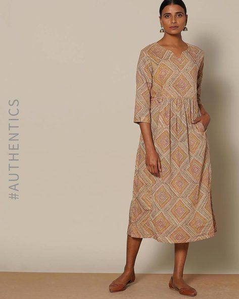 Handblock Print Cotton Mulmul Dress By Lyla ( Brown )