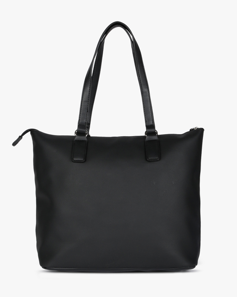 Tote Bag With Flat Straps By Lino Perros ( Black )