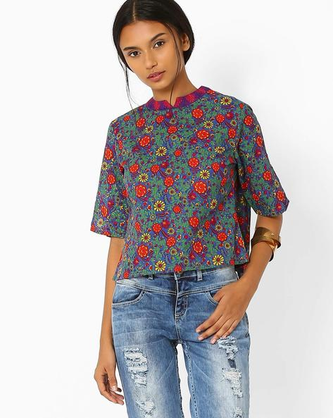 Floral Print Layered Top By AJIO ( Purple )
