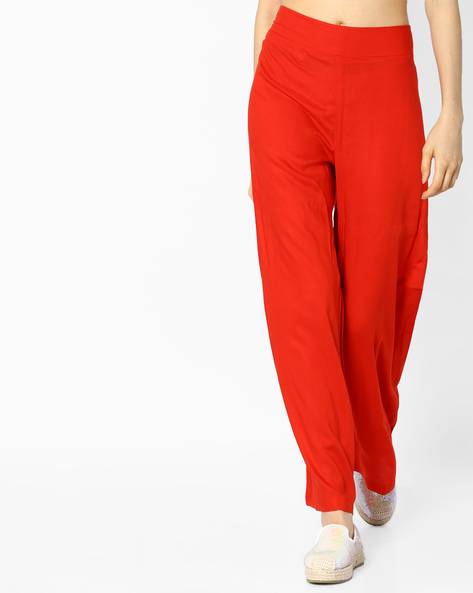 High-Rise Palazzo Pants By PASLEI ( Red )