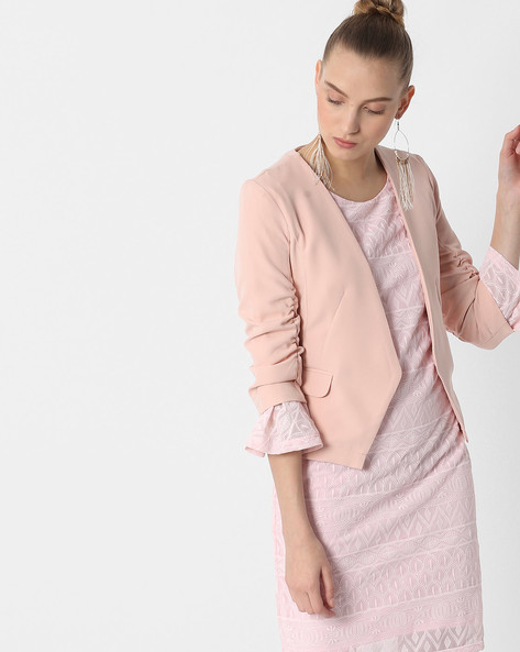 Front-Open Blazer With Pockets By FIG ( Pink )