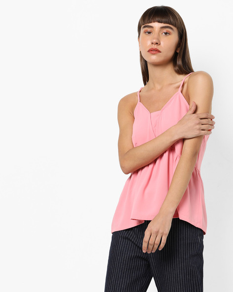 Open-Back Camisole Top With Tie-Ups By AJIO ( Pink )