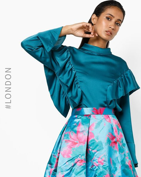 High-Neck Top With Ruffles By Closet London ( Teal )