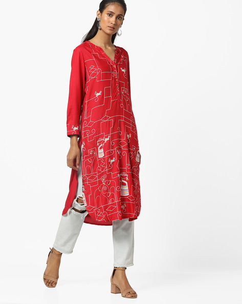 Geometric Print Kurta By Global Desi ( Red )