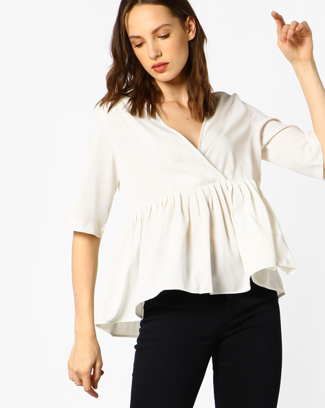 Pleated Top With Overlapping Front By Blue Saint ( White )