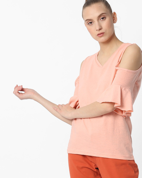 Cold-Shoulder Top With Bell Sleeves By FIG ( Ltpeach )