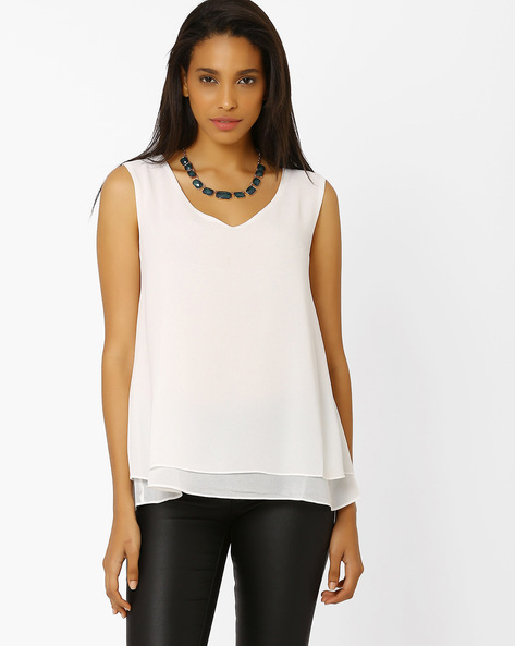 Layered Top With Metal Trim By AJIO ( Teal )