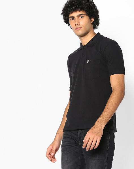 Premium Polo T-shirt With Patch Pocket By DUKE ( Black )