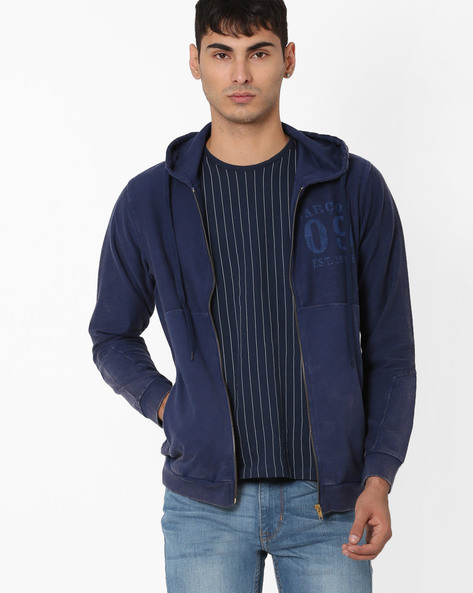 Front-Zip French Terry Hooded Sweatshirt By Garcon ( Navyblue )