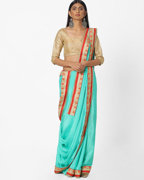 Embroidered Crepe Saree By Majestic Silk ( Blue )