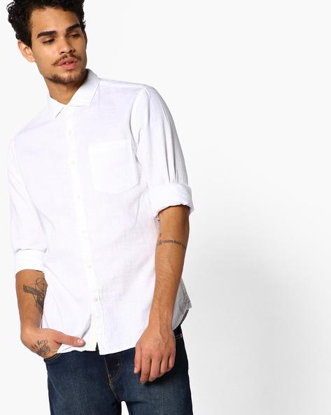 Slim Fit Shirt With Curved Hemline By AJIO ( White )