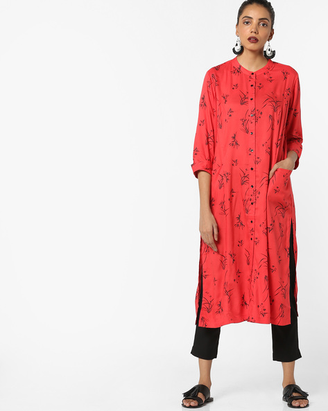 Printed Straight Kurta With Pockets By Project Eve IW Casual ( Coral )