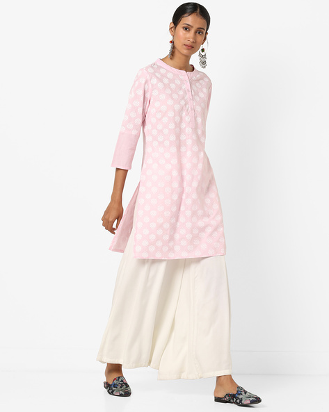 Printed Straight Kurta With Button Placket By AJIO ( Pink )