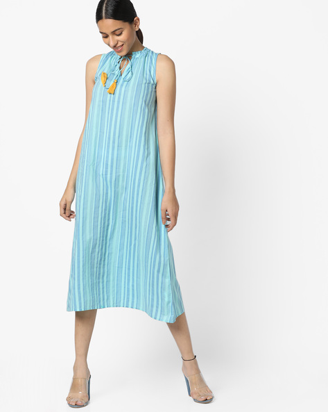 Sleeveless A-Line Dress With Tie-Up By AJIO ( Blue )