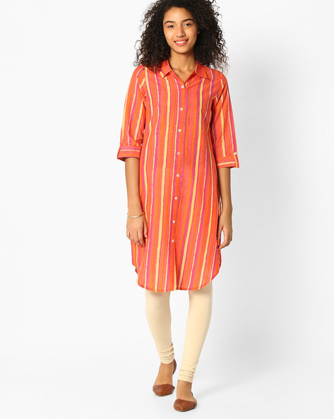 High-Low Hem Kurta With Roll-Up Tabs By Avaasa Ariah ( Orange )