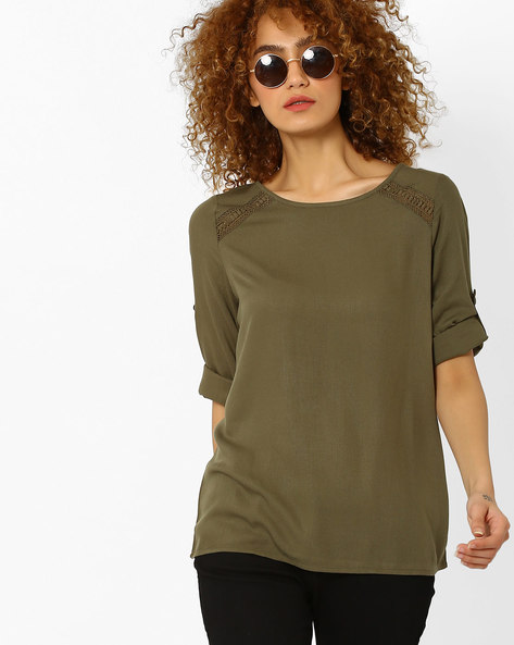 Top With Lace Inserts By Vero Moda ( Green )
