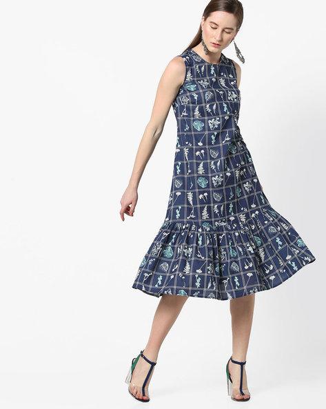 Graphic Print Sleeveless Dress By AJIO ( Indigo )