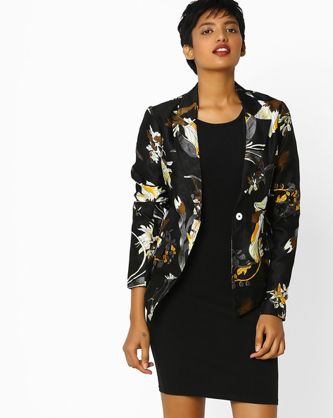 Floral Print Blazer With Notched Lapel By Sassafras ( Black )