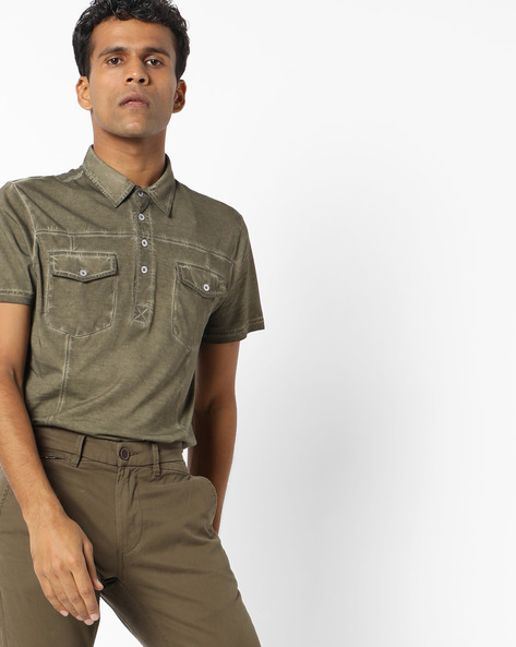 Polo T-shirt With Flap Pockets By AJIO ( Olive )