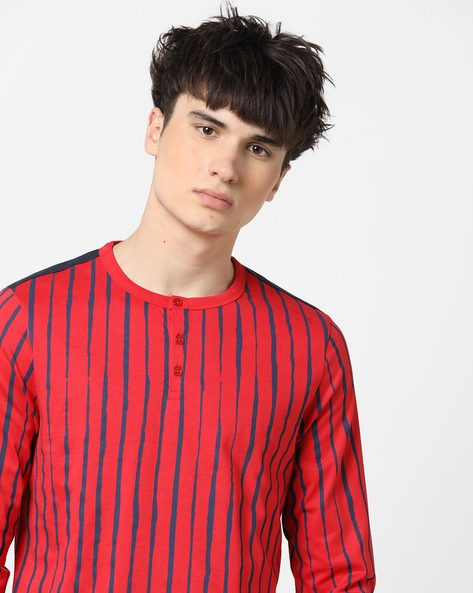 Striped Henley T-shirt With Long Sleeves By AJIO ( Red )