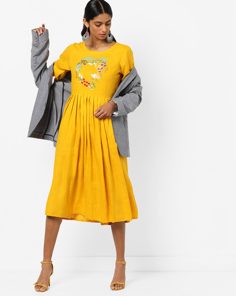 Flared Dress With Floral Embroidery By Anjani ( Yellow )