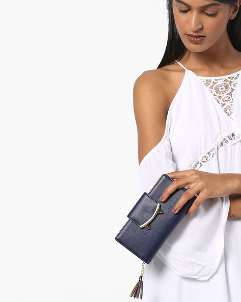 Metal Embellished Wallet With Tassel Chain By E2O ( Blue )