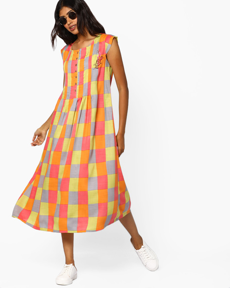 Checked A-line Dress With Cap Sleeves By AJIO ( Multi )
